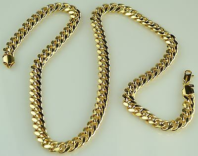 MENS HEAVY 18K YELLOW GOLD FILLED CUBAN LINK CHAIN NECKLACE AND BRACELET SET