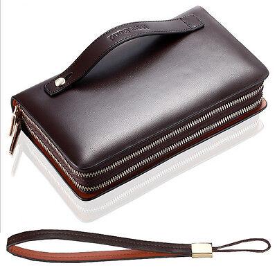 Mature Men Real Leather Briefcase Wallet Fashion Purse Business Clutch Bag AR196