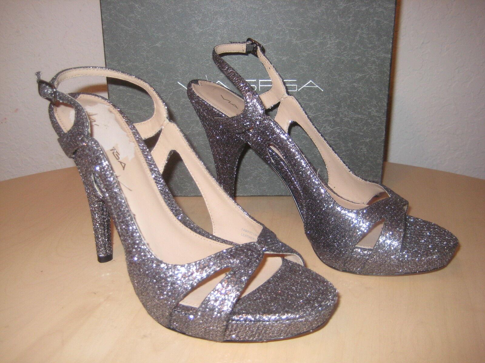 Via Spiga Schuhes Größe 8 M Damenschuhe NEU Adrianna 2 Silver Sparkly Open Toe Heels
