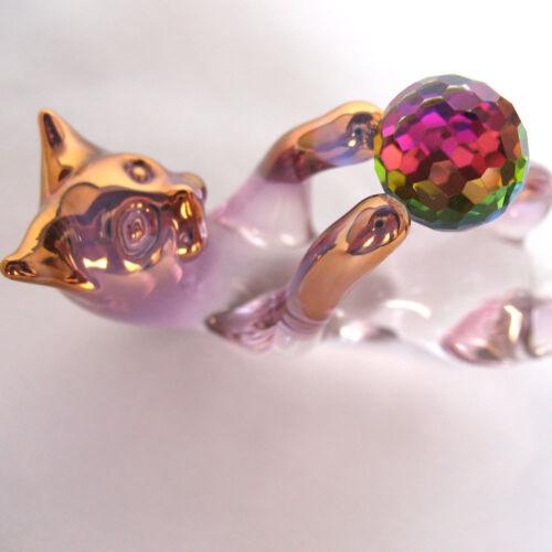 Cat Kitten Feline Figurine of Hand Blown Glass Crystal