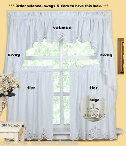 Details about Battenburg Lace Kitchen Curtain Valance Tier Swag ECRU BEIGE  Creative Linens