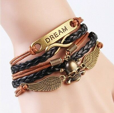 Infinity Dream Skull Wings Friendship Antique Copper Leather Charm Bracelet !!!