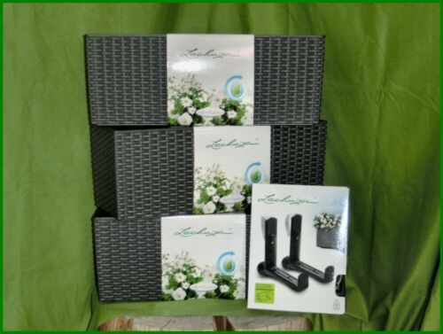 3x Pflanzgefäße Lechuza BALCONERA Cottage 80 granit Sets inkl Kunststoffhalter