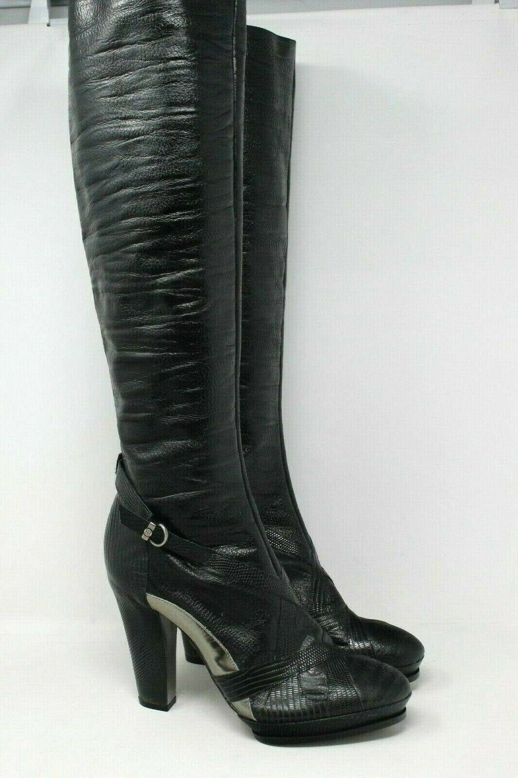 BCBGMAXAZRIA Leather Platform Boots Chrome Detail in Black - 8 US  NEW