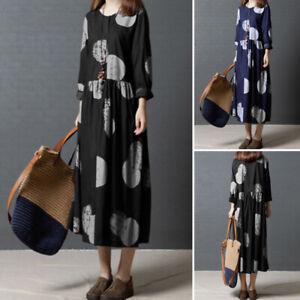 Mode-Femme-Robe-Manche-Longue-Pois-Col-Rond-Casual-lache-Confor-Maxi-Dresse-Plus