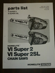 Homelite Super 2 Sl Chainsaw Owners Manual