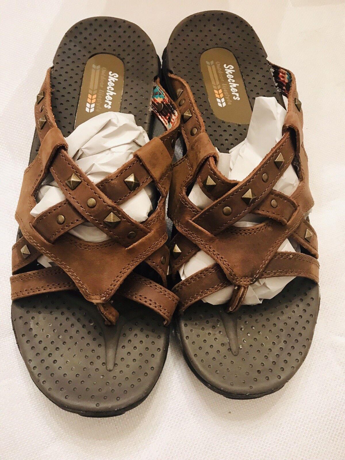 Skechers 10 Flip Flops Soundstage Reggae Brown Studded Leather Sandals EUC LKN