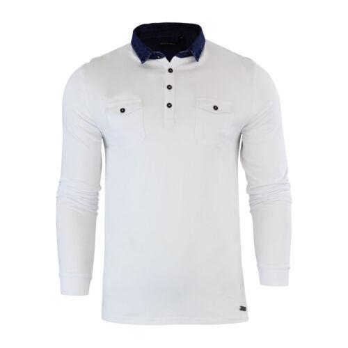 Da Uomo Polo T Shirt Brave Soul Vangelo in denim con colletto manica lunga Top Casual