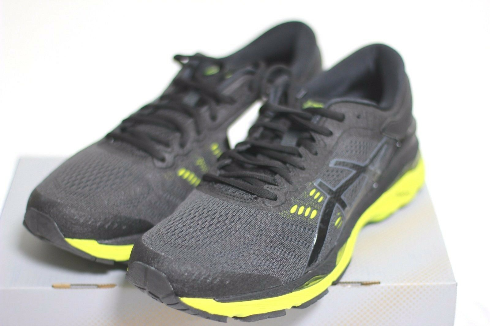 ASICS New Men's GEL KAYANO 24 (2E) Wide Type Running shoes Black Green Authentic
