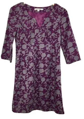 Boden Plum and Gray Fine Wale Corduroy Dress
