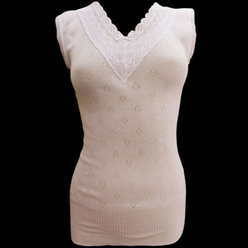 NEW WOMENS LADIES THERMAL LACEY NECKLINE WARM VESTS PLUS SIZE TOP FULL SHOULDER