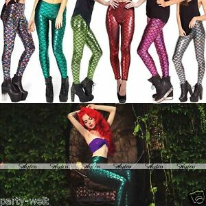 1d6717895d159f 6Colors Fashion Women's Mermaid Fish Scale Skinny Stretch Slim Pants ...