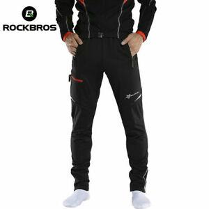 ROCKBROS-Men-039-s-Thermal-Fleece-Pants-Winter-Cycling-Sportswear-Reflective-Trouser