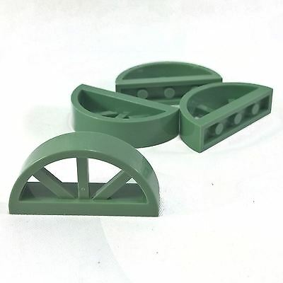 4 NEW LEGO Window 1 x 4 x 1 2-3 Spoked Rounded Top Sand Green