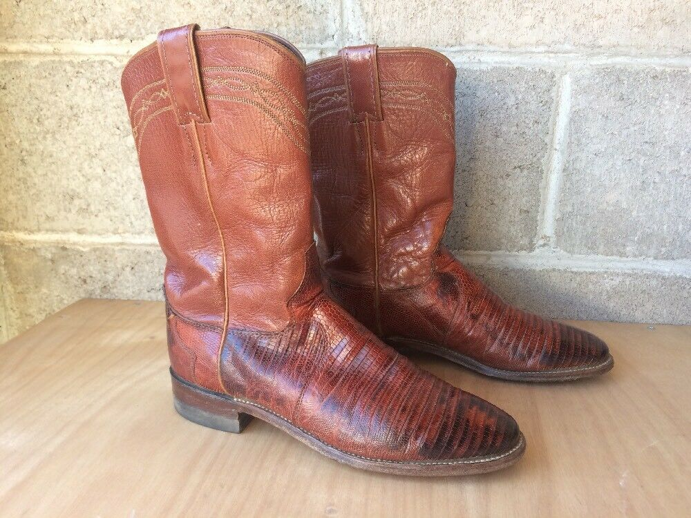 Vintage Justin boots women's size 6.5 exotic lizard Teju brown roper USA Made