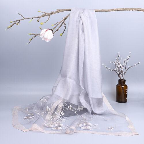 Lady SOIE LAINE FLORAL écharpe châle Wrap élégante Broderie Fleur Long cadeau de fée
