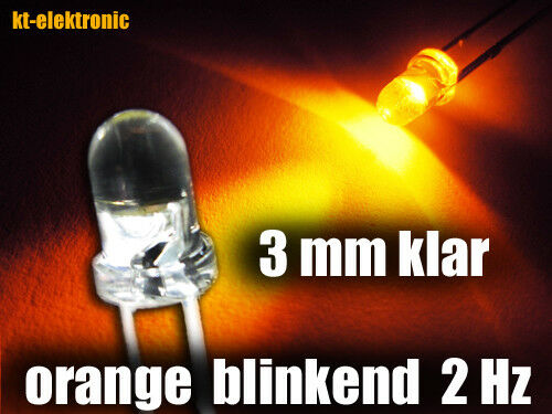 2 mal pro Sekunde 1.5-2.5 Hz 10 Stück Blink-LED 3mm orange blinkend ca