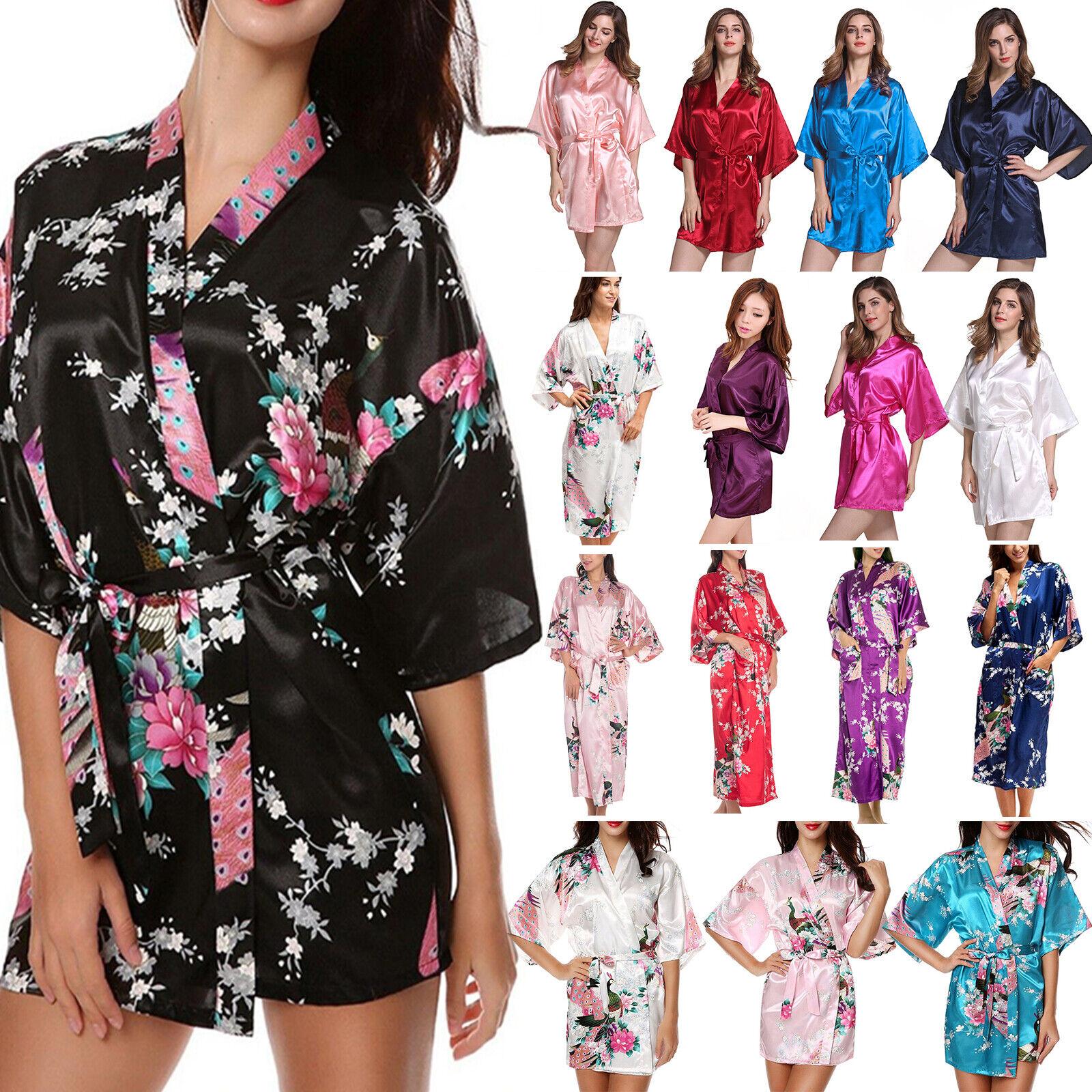 Women Silk Satin Wedding Party Bridesmaid Robe Floral Bathrobe Kimono Nightgown