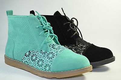 Women Combat Style Boots Fashion Ankle High Cute Flower Lace Design Faux Suede