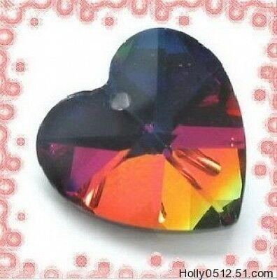 Lot 50Pcs 14mm Faceted Crystal Heart Pendants Multicolored Bead Craft Jewellery