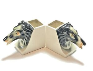 Maruhon K Hand Painted Vintage Ceramic Greyhound Bookends Decor Japan Dogs Set