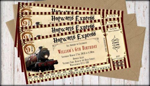 4 Extra Large Hogwarts Express Harry Potter Personalised TrainTicket Invitations