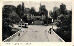 Ansichtskarte-PK-Thueringen-Erfurt-Aufgang-zum-Stadtpark-Strassenbahn-Fotografie