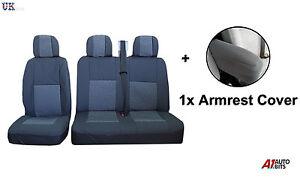 2-1-grau-Premium-Stoff-Seat-amp-Armlehnenbezuege-fuer-Mercedes-Vito-Sprinter-Viano