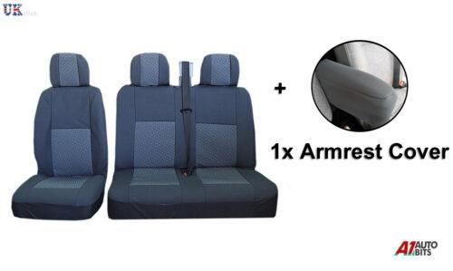 2+1 Gris Premium Asiento De Tela /& Apoyabrazos Cubiertas Para Opel Opel Vivaro Movano