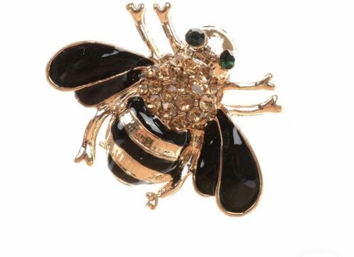Gold Bling Bee Manchester Pin Badge Brooch New UK Pretty Ladies Gift