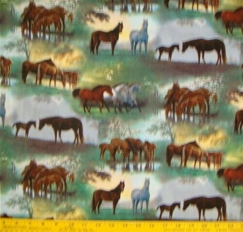 Shenanadoah Horse Scenic Cotton Fabric By The Yard
