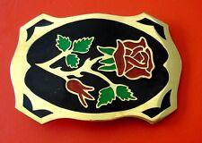 Vintage Beautiful Rose Hand Made Brass Belt Buckle