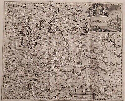 Cartina Economica Lombardia.1704 Van Der Aa Mappa Geografica Carta Di Milano Lombardia Status Mediolanensis Ebay