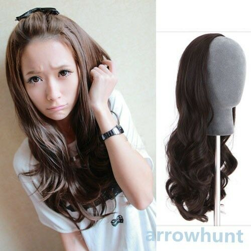 3 color Womens Girls New Fashion 3/4 Full Hair Wigs Long Wavy Curly Half Wig