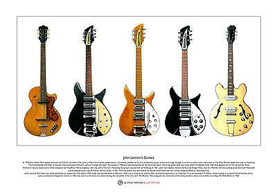 John Lennon's Guitars Limited Edition Fine Art Print A3 size