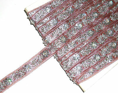 STUNNING BEADED/SEQUIN EMBROIDERED TRIM, 16MM WIDE, SOLD BTM, ART MB4184