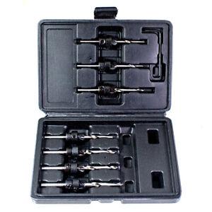Trapano-amp-Svasatura-in-uno-7pc-Bit-Set-Custodia-5-6-7-8-9-10-12mm-Hard-Soft-Legno