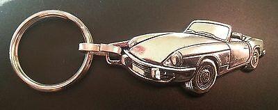 Maße Fahrzeug 53x25mm Auto & Motorrad: Teile Triumph Spitfire Schlüsselanhänger Relief Silbern