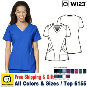 Wonderwink-Peelings-W123-Mujer-Medico-Uniforme-Estilizado-Cuello-en-V-Top-6155