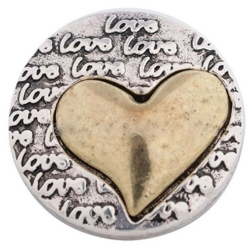 Silver Love Gold Heart 18mm Charms For Ginger Snaps Magnolia Vine Button Jewelry