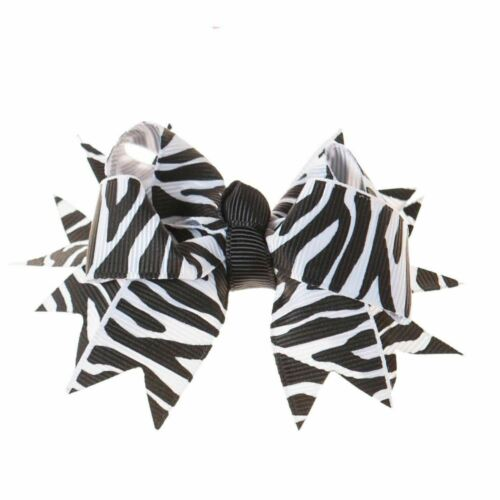 Great for our Clip On Squeaky Shoes Zebra Print Black and White Hair//Shoe Bow