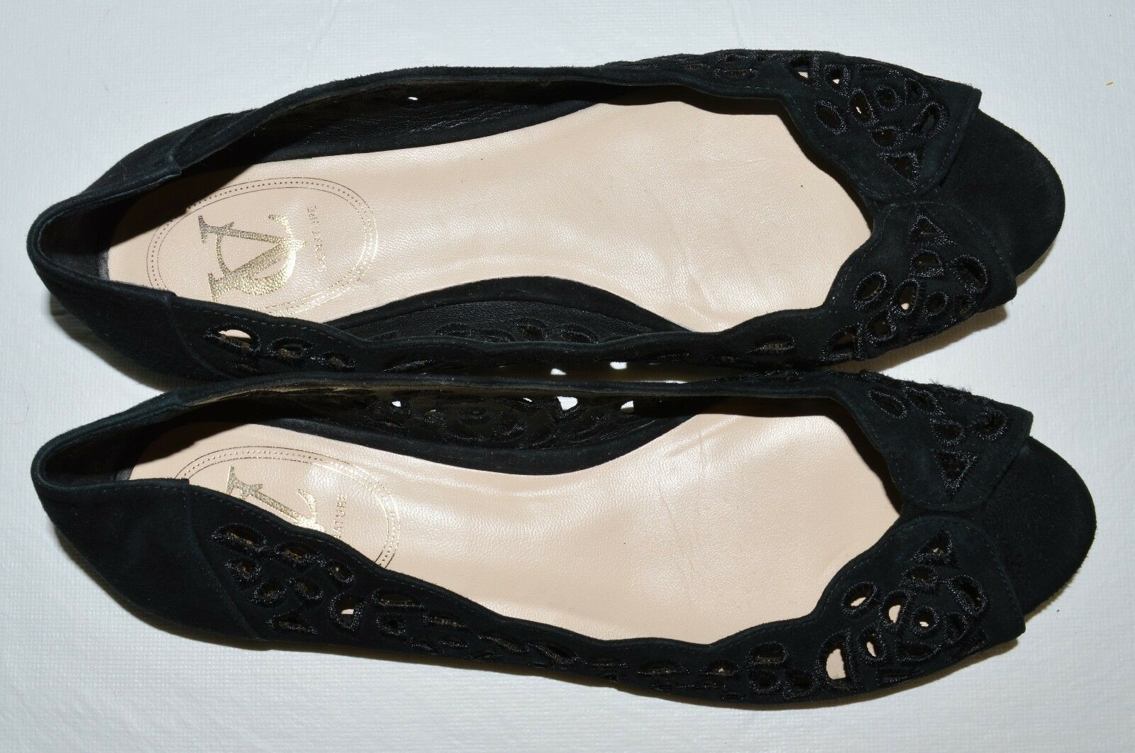 VC VINCE CAMUTO SIGNATURE CATLYN SZ 7 M BLACK 37 BLACK M SUEDE OPEN TOE FLATS Schuhe d2da0e