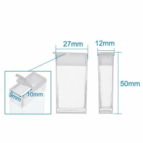 64 Clear Plastic Seed Bead Storage Jars Rectangle Fold Over Clip Container Boxes