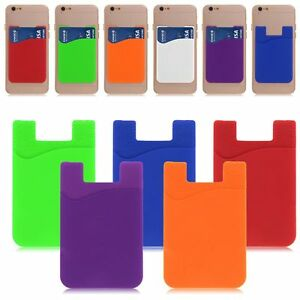 Silicone-Credit-Carte-Poche-titulaire-etui-Coque-Pour-iPhone-Samsung-Smart-Phone