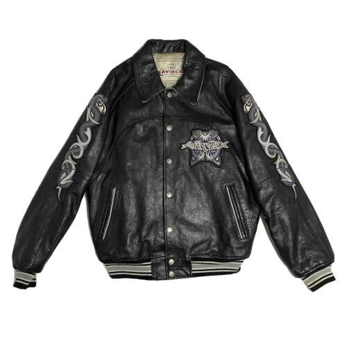 Avirex Snakeskin Leather Jacket Black Cobra Men's