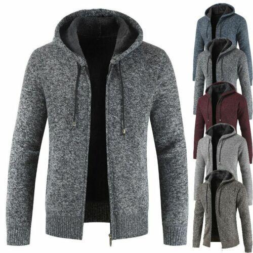 Men Woollen Knit Zip Up Funnel Neck Jacket Cardigan Jumper Slim Sweater Coat Top