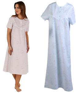 5b1228e121 Image is loading Ladies-Slenderella-Floral-Lace-Trim-Nightdress-Short-Sleeve -