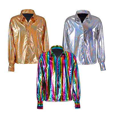 70/'s Disco fancy dress shirts Mens Metallic shirts shine