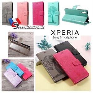 Etui-Folio-coque-housse-Nature-Cuir-PU-Leather-case-cover-Xperia-L2-XA2-Ultra