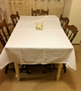 Amazing 6 White Tablecloths Wedding Party Dinning Rectangle Home Interior And Landscaping Fragforummapetitesourisinfo
